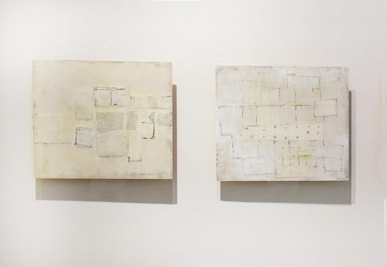 Untitled White 1 (Abstract Geometric Mixed Media Work on Wooden Panel) - Painting by Donise English