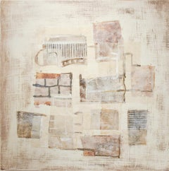 Brown Yellow White (Neutral Abstract Mixed Media Painting on Wooden Panel)
