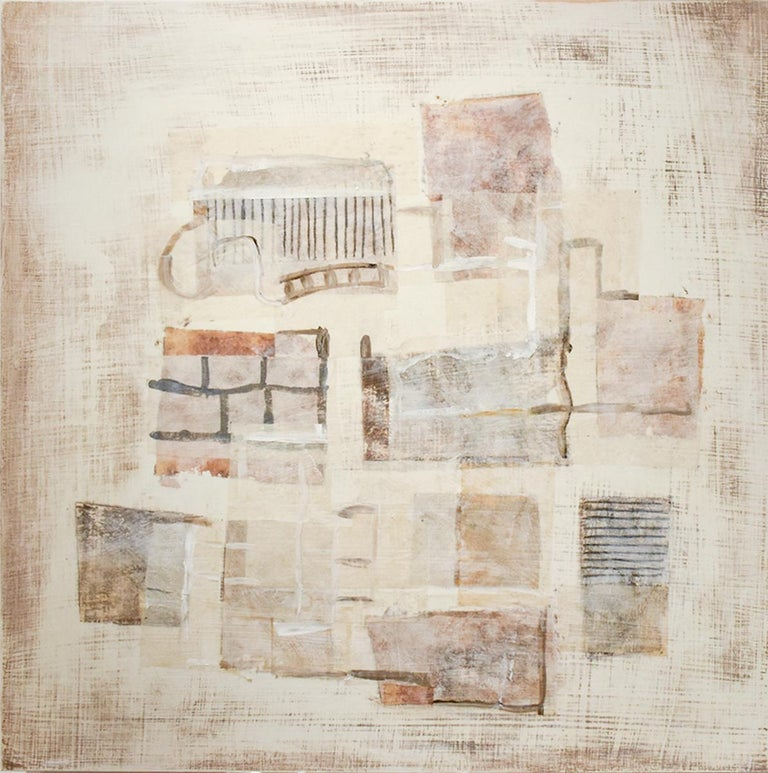Donise English Abstract Drawing - Brown Yellow White (Neutral Abstract Mixed Media Painting on Wooden Panel)