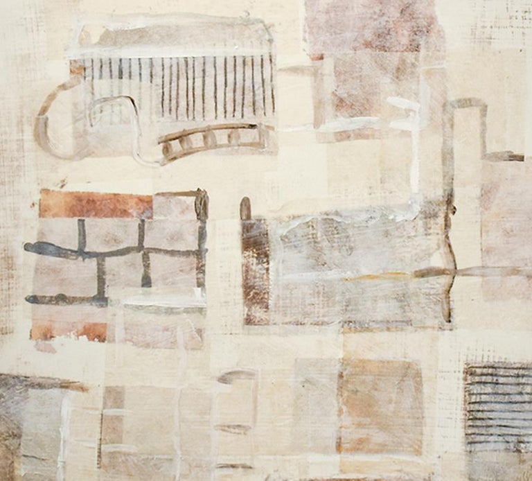 Brown Yellow White (Neutral Abstract Mixed Media Painting on Wooden Panel) - Beige Abstract Drawing by Donise English