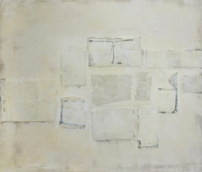 Donise English Abstract Drawing - Untitled (Small Abstract Monochromatic Encaustic on Panel, Neutural White)