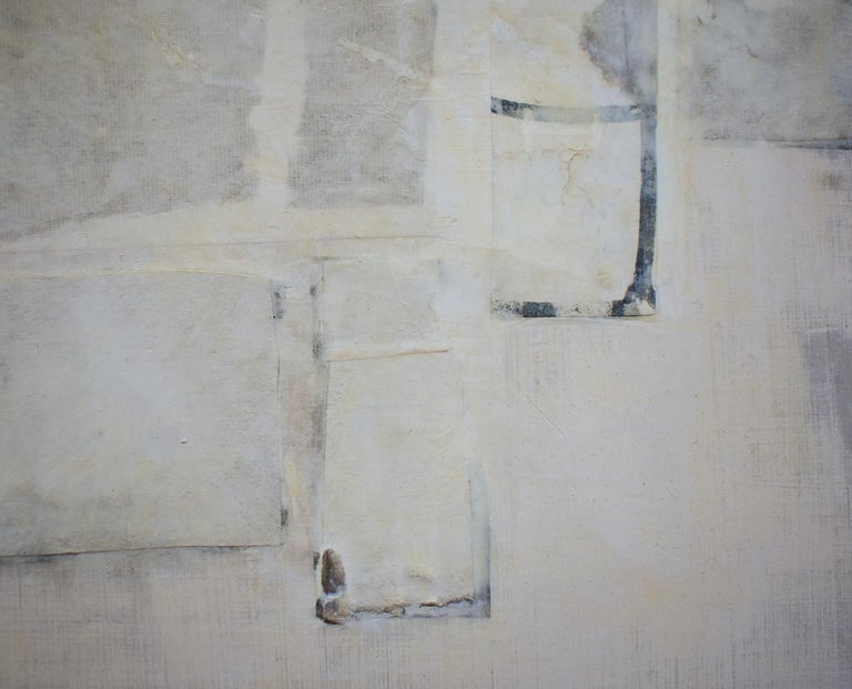 Untitled (Small Abstract Monochromatic Encaustic on Panel, Neutural White) - Contemporary Art by Donise English