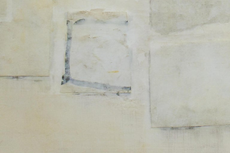 Untitled (Small Abstract Monochromatic Encaustic on Panel, Neutural White) - Gray Abstract Drawing by Donise English