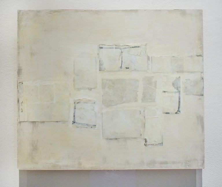 Untitled (Small Abstract Monochromatic Encaustic on Panel, Neutural White) - Art by Donise English