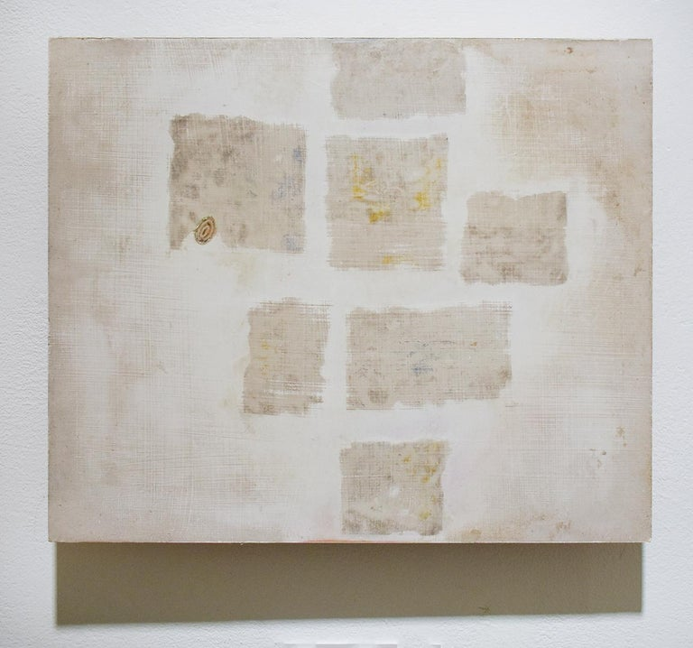 Untitled White 2 (Abstract Geometric Mixed Media Work on Wooden Panel) - Painting by Donise English