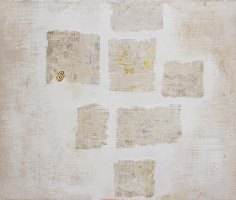 Donise English Abstract Painting - Untitled White 2 (Abstract Geometric Mixed Media Work on Wooden Panel)