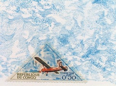 Republique du Congo (Wind): Pastel Blue Colored Pencil Drawing & Plane Stamp