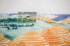 USA (Soil Conservation): Colored Pencil & Postage Stamp Imagined Landscape