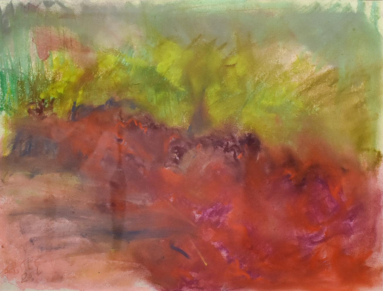 Clover in Ancram (Colorful Abstract Landscape in Green & Ruby Pink, Framed)