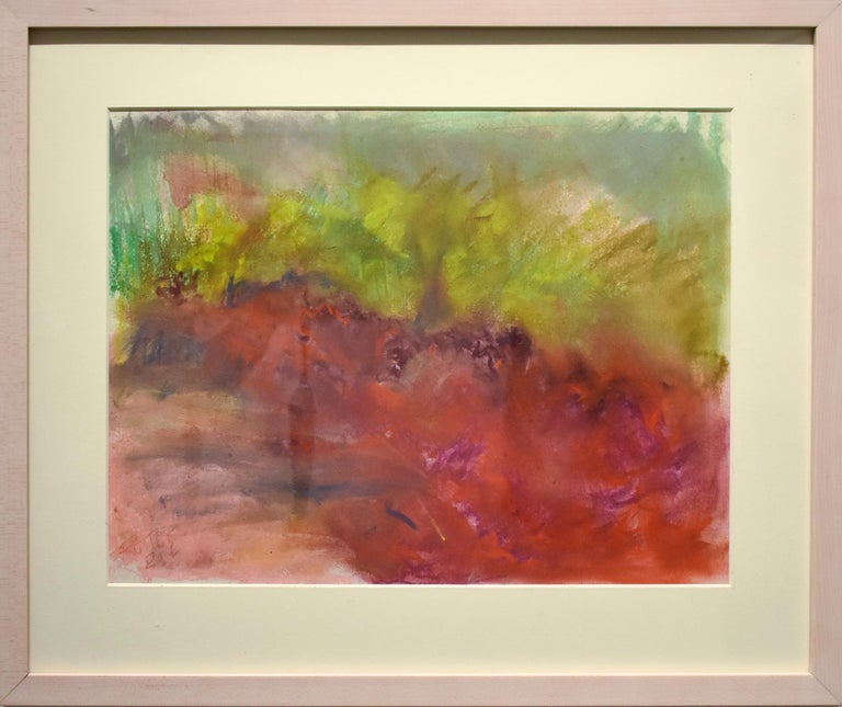 Clover in Ancram (Colorful Abstract Landscape in Green & Ruby Pink, Framed) - Art by Nancy Rutter