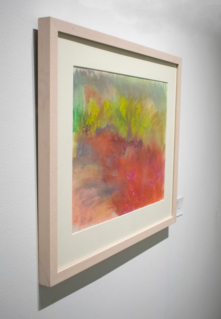 Clover in Ancram (Colorful Abstract Landscape in Green & Ruby Pink, Framed) - Contemporary Art by Nancy Rutter