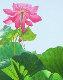 Lotus 25: Photorealist Still Life Painting of Pink Flower & Green Leaves on Blue