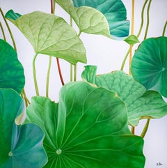 Lotus 27: Photo-realist Still Life Painting of Green Leaves on Light Grey