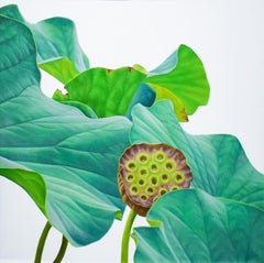 Lotus 23: Photo-realist Still Life Painting of Green Leaves on Light Grey