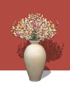 Contessa 1000 AD: Abstract Flower Still Life of Antique Vase on Coral Background