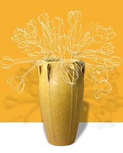 Saffron 1899: Pop Abstract Flower Still Life of Antique Vase Yellow Background