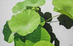 Lotus 15: Photo-realist Still Life Painting of Green Leaves on Light Grey