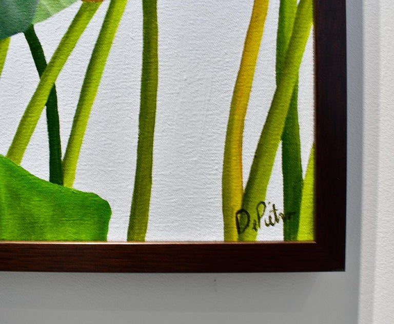 Lotus 24: Photo-realist Still Life Painting of Green Leaves on Light Grey  For Sale 2