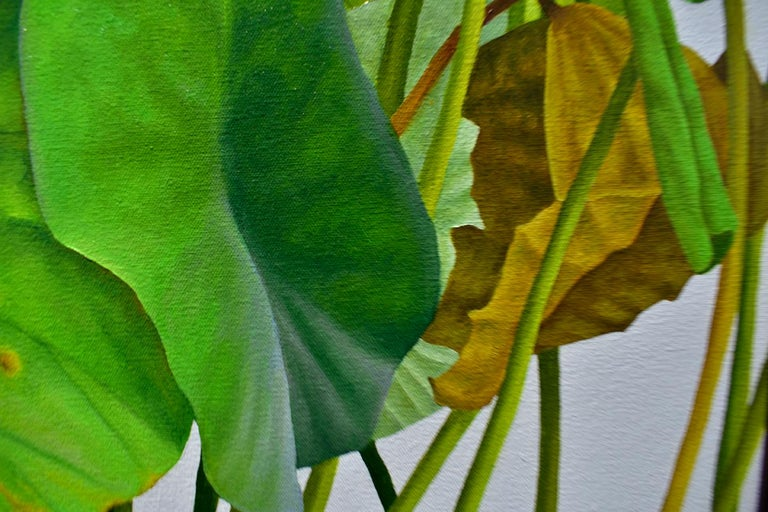 Lotus 24: Photo-realist Still Life Painting of Green Leaves on Light Grey  For Sale 3