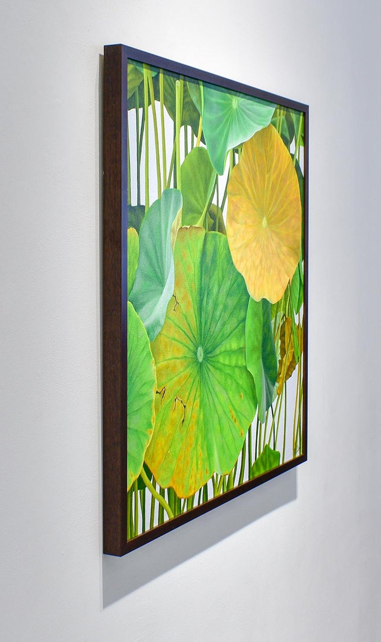 Lotus 24: Photo-realist Still Life Painting of Green Leaves on Light Grey  For Sale 1