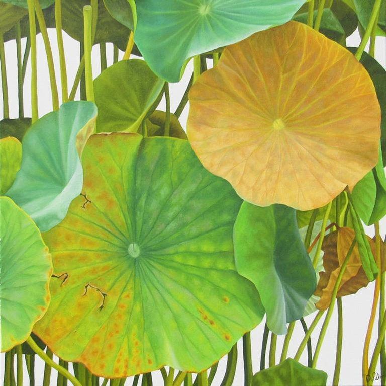 Frank DePietro Still-Life Painting - Lotus 24: Photo-realist Still Life Painting of Green Leaves on Light Grey