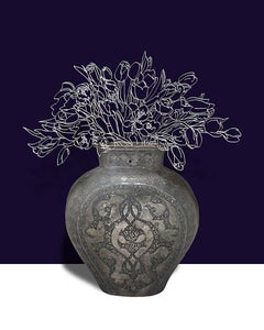 Tolopea (Abstracted Flower Still Life Photograph Antique Vase on Dark Blue)