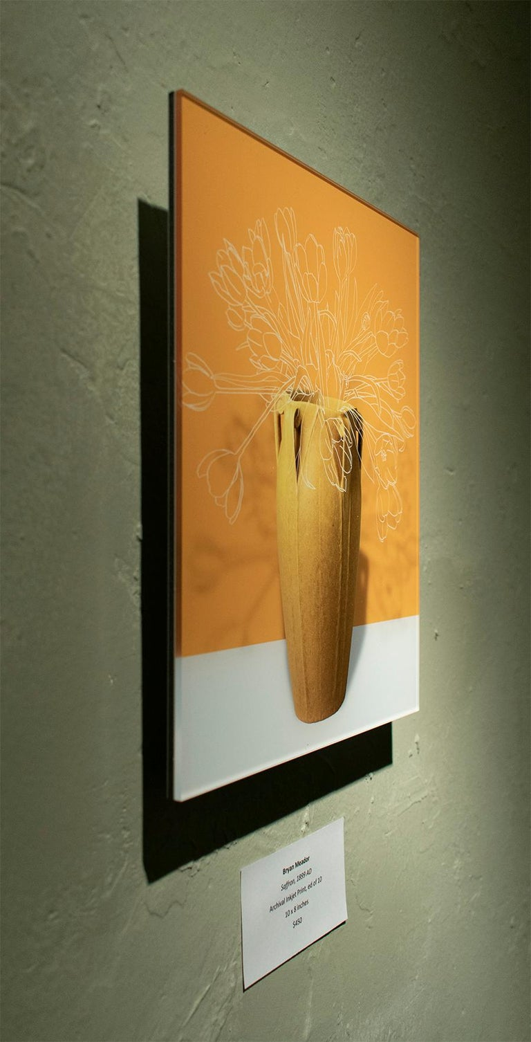 Abstract Flower Still Life Photograph of Antique Vase on Yellow Background Saffron 1899 AD by Bryan Meador Archival Inkjet Print mounted on Sintra with Plexi glass face mount Aluminum bracing on reverse 24 x 20 inches (ed. of 3)  - additional sizes