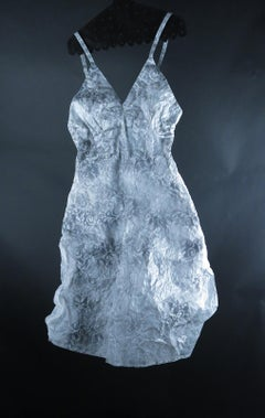 Stenciled Slip (Figurative White Glassine Still Life Sculpture of Clothing)