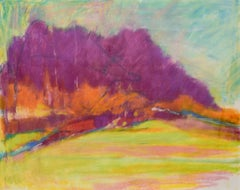 Orange Flash: Abstract Landscape Pastel of Magenta Forest & Yellow Field