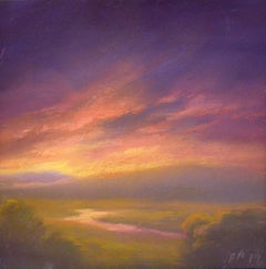 Creek in the Catskills Sunset (Small Landscape Pastel Drawing by Jane Bloodgood)