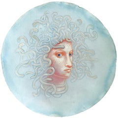 Medusa Augury (Round Portrait Drawing in Blue Pastel by Kahn & Selesnick)