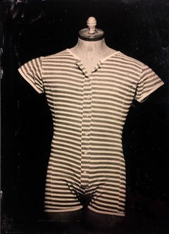 Stripes (Tin Type Photograph of Vintage Men's Swimwear, Vintage Frame)