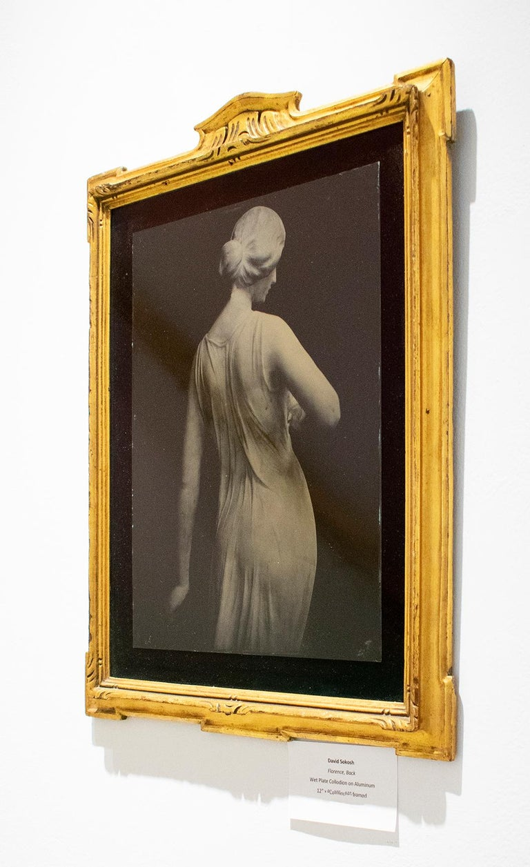 Florence (Tin Type Photo of Female Statue, Black Velvet, Vintage Gold Frame - Photograph by David Sokosh