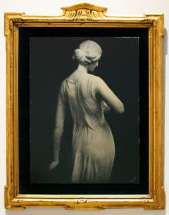 Florence (Tin Type Photo of Female Statue, Black Velvet, Vintage Gold Frame