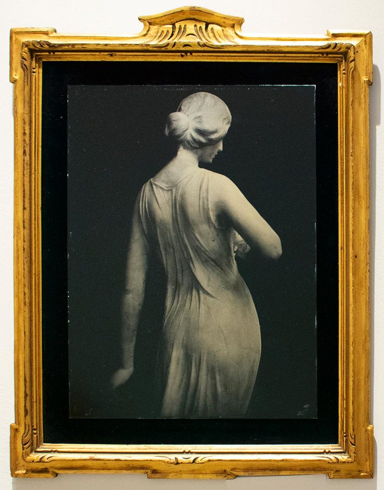 David Sokosh Figurative Photograph - Florence (Tin Type Photo of Female Statue, Black Velvet, Vintage Gold Frame