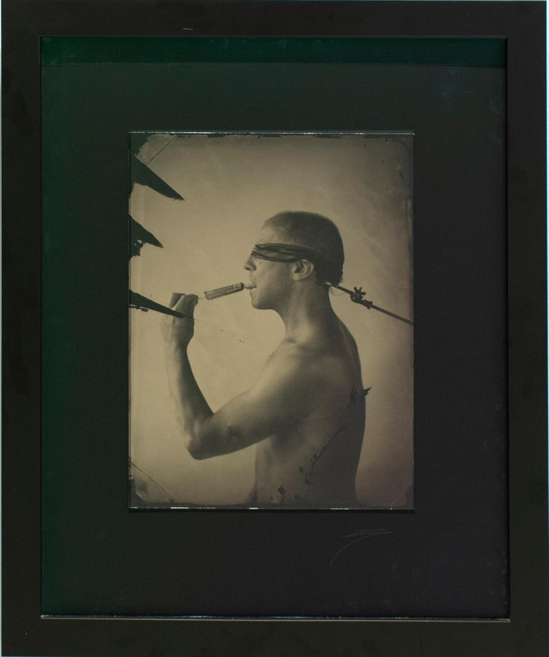 Linguist (Salacious Tin Type Photo of Male Nude Licking an Ice Pop, blindfolded) - Contemporary Photograph by David Sokosh