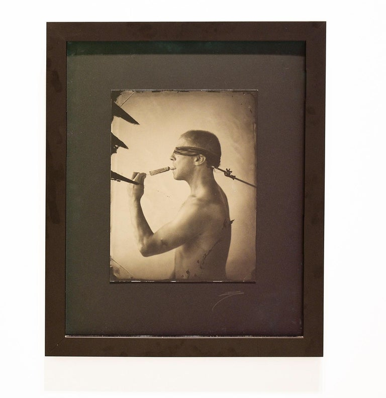 Linguist (Salacious Tin Type Photo of Male Nude Licking an Ice Pop, blindfolded) - Photograph by David Sokosh