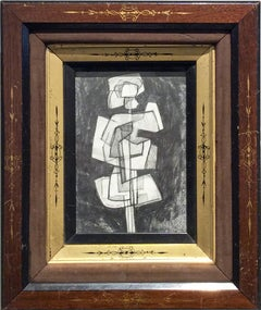 Infanta XLIII (Small Abstract Cubist Graphite Drawing in Vintage Eastlake Frame)