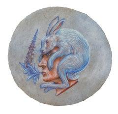 Foxglove Rabbit Augury: Round Pastel Drawing, Handmade Paper by Kahn & Selesnick