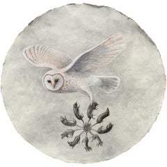 Rat King Augury: Snow White Owl Pastel on Handmade Paper by Kahn & Selesnick