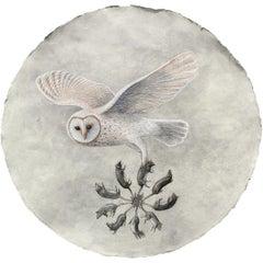 Rat King Augury: Snow White Owl Pastel on Handmade Paper by Kahn & Selesnick