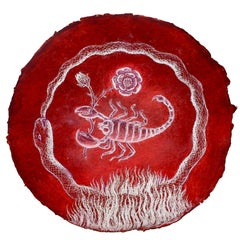 Scorpio Augury: Round Astrological Drawing on Handmade Paper by Kahn & Selesnick