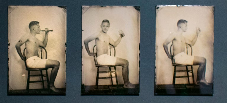 David Sokosh Figurative Photograph - Pause that Refreshes (Vintage Tin Type Triptych with Coca Cola)