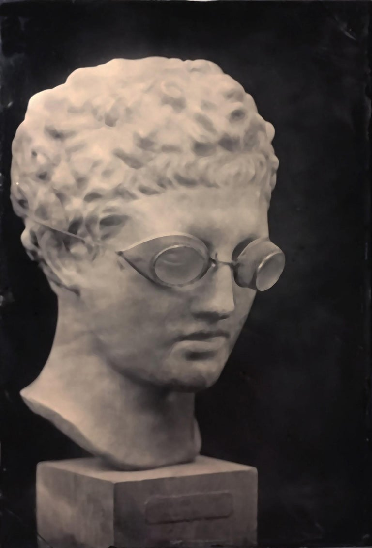 David Sokosh Figurative Photograph - Hermes with Goggles On (Tin Type Triptych of Statue, Vintage Victorian Frame)