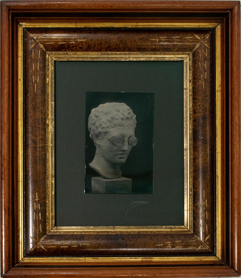 Hermes with Goggles On (Tin Type Triptych of Statue, Vintage Victorian Frame) - Photograph by David Sokosh