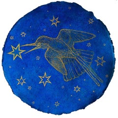 Hummingbird Augury: Cobalt Blue Pastel Drawing on Handmade Paper w/ Gold Stars