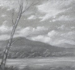 Hudson River Vignette (Black & White Landscape Drawing of Mountains & River)