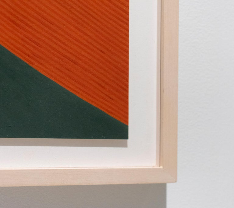Graphic abstract painting on paper in in complementary hues of red-orange, dark teal and light green