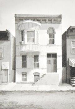 Fourth Street VI (Photorealist Cityscape of Townhouse, Black & White Watercolor)