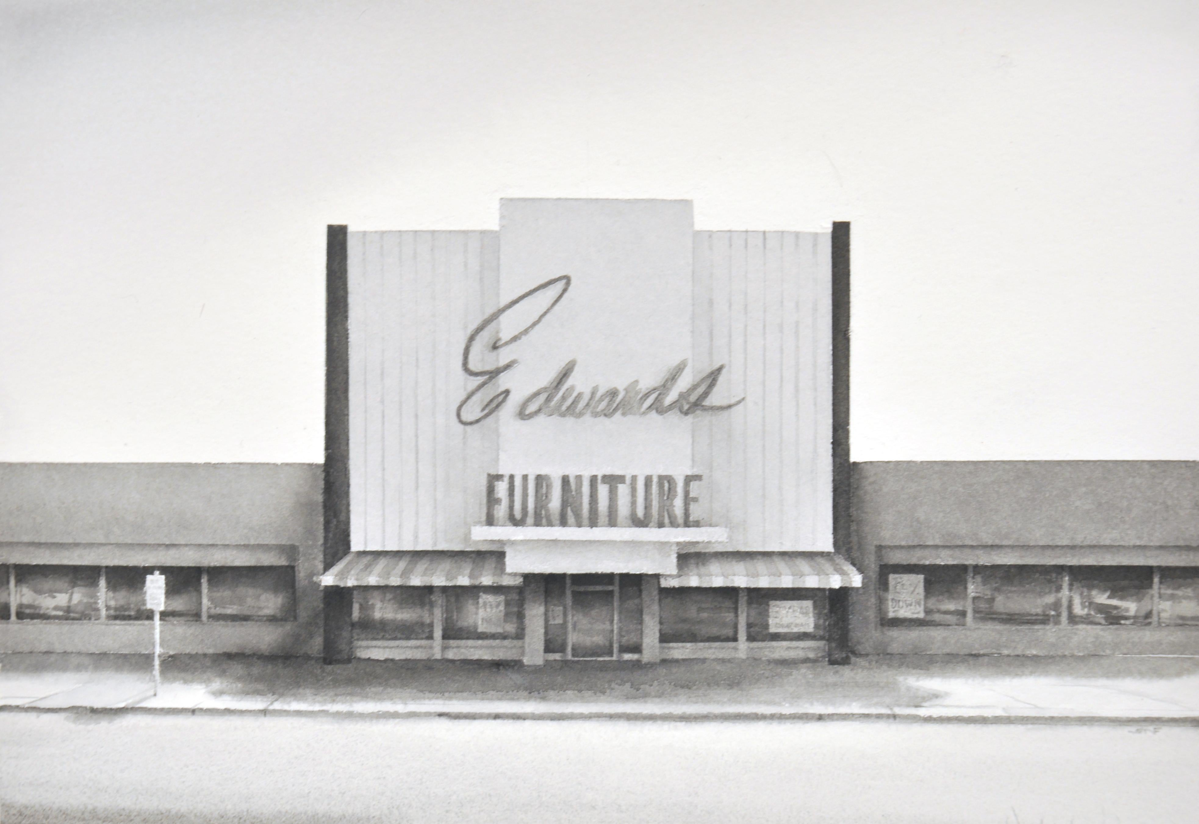 Edward's (Photo-Realist Black & White Watercolor Painting of Retro Store)
